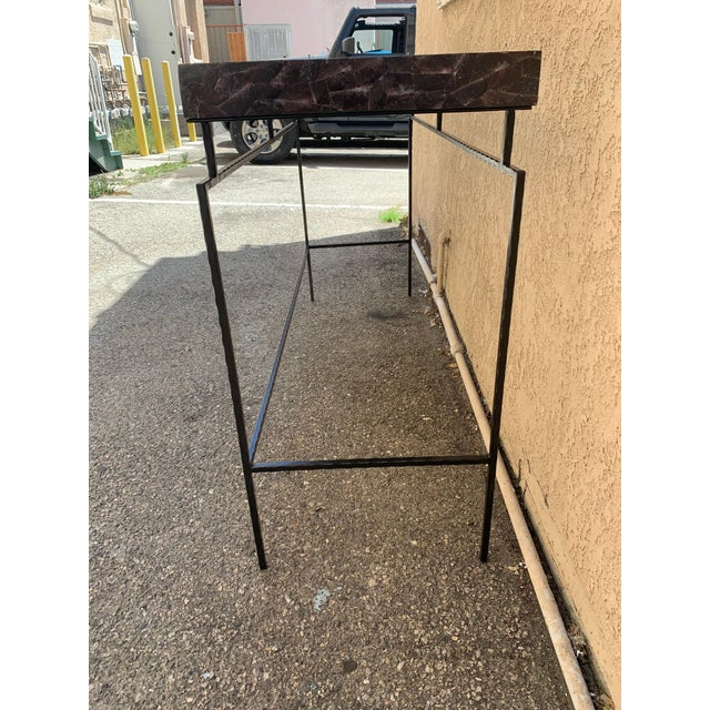 Contemporary Contemporary Penshell and Iron Console Table For Sale - Image 3 of 6