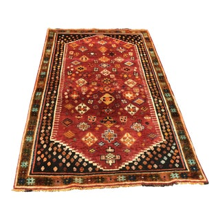 "1950s Hand Weaved Vintage Persian Qashghi Rug - 3'11""x6'2"" For Sale"