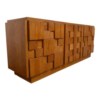 1970s Lane Mosaic Brutalist Sideboard Dresser For Sale