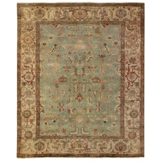 Exquisite Rugs Serapi Hand knotted Wool Light Blue/Ivory Rug-9'x12' For Sale