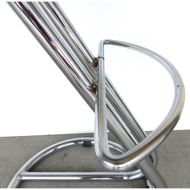 Animal Skin Italian Mid-Century Modern Chrome Bar Stools - a Pair For Sale - Image 7 of 9