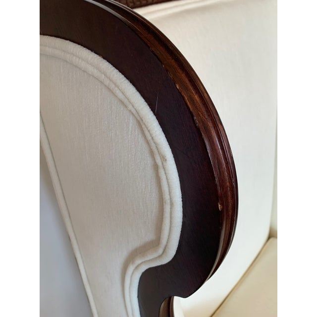 Carved Walnut and Upholstered Wingback Club Chair For Sale - Image 11 of 13