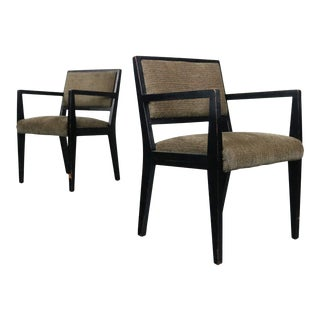 Set of Two Side Chairs Attributed to Edward Wormley for Dunbar Chairs in Distressed Black, USA For Sale