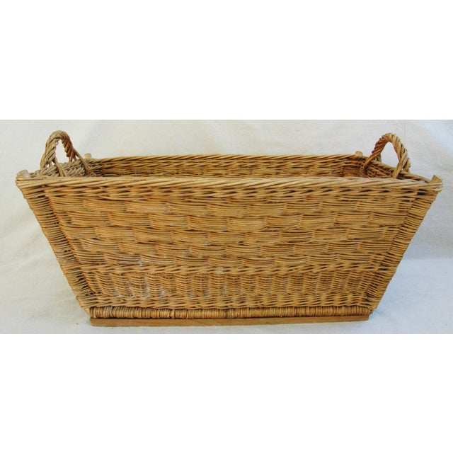 Wicker Early 1900s French Willow & Wicker Market Basket For Sale - Image 7 of 9
