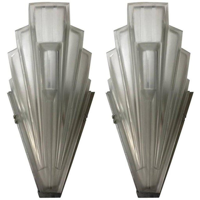 French Art Deco Skyscraper Sconces Signed by Sabino - A Pair For Sale - Image 11 of 11