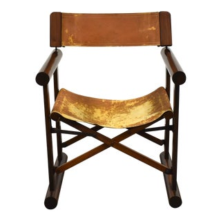 Rosewood & Leather Foldable Campaign Chair For Sale