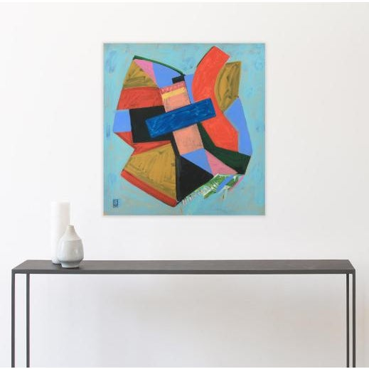 """'Papillon' is an acrylic painting on canvas based on a fabric geometric butterfly I made. It measures 38 x 36"""" and was..."""