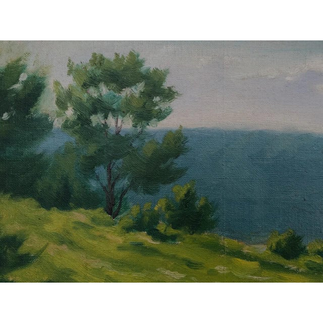 """1920s Early 20th Century """"A Lake in the Berkshires"""" Landscape Oil Painting by J. Campbell Phillips, Framed For Sale - Image 5 of 10"""