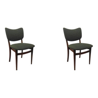 Danish Dining Chairs in Tanned Beech & Blue Fabric, 1940s - A Pair