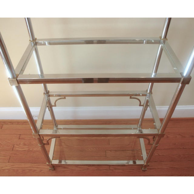 Brass Mid-Century Chinoiserie Chrome, Brass & Glass Etagere Shelf For Sale - Image 7 of 7