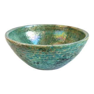 Vintage California Studio Art Iridescent Pottery Turquoise Bowl Modern Rustic Signed For Sale