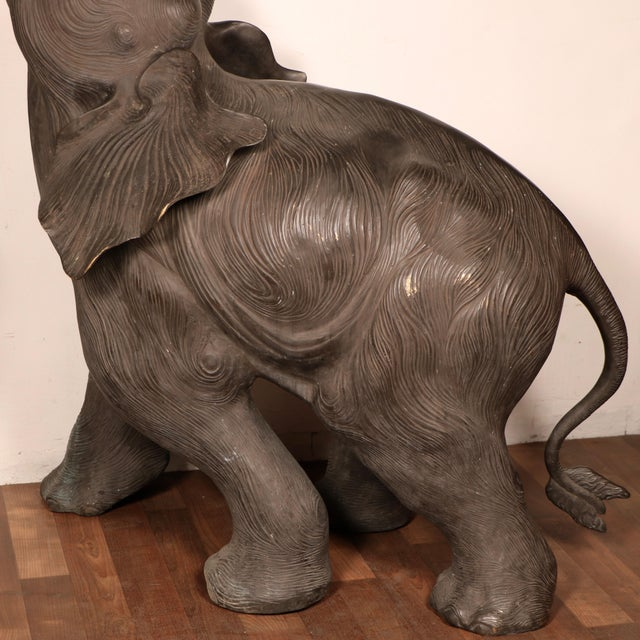 80s Bronze Elephant Statues - A Pair For Sale - Image 10 of 11