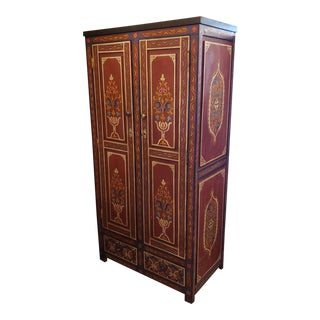 Moroccan Handpainted Wooden Armoire For Sale