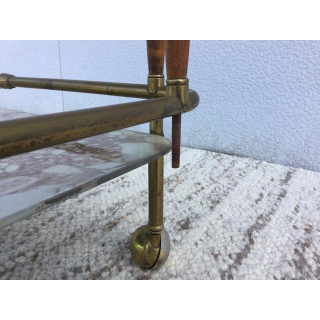 1950s Italian Brass & Walnut Bar Cart - Image 11 of 11