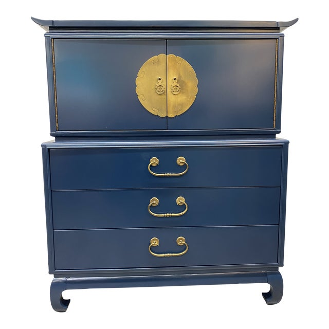 Mid-Century Lacquered Asian Chest For Sale