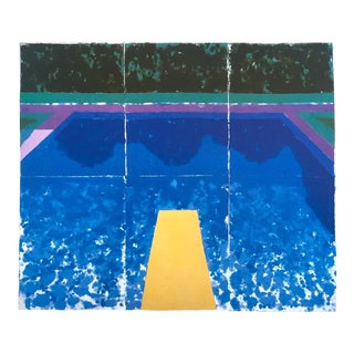 """David Hockney Vintage 1978 Rare Tyler Graphics Iconic Lithograph Print """" Day Pool With Three Blues ( Paper Pool #7 ) """" For Sale"""