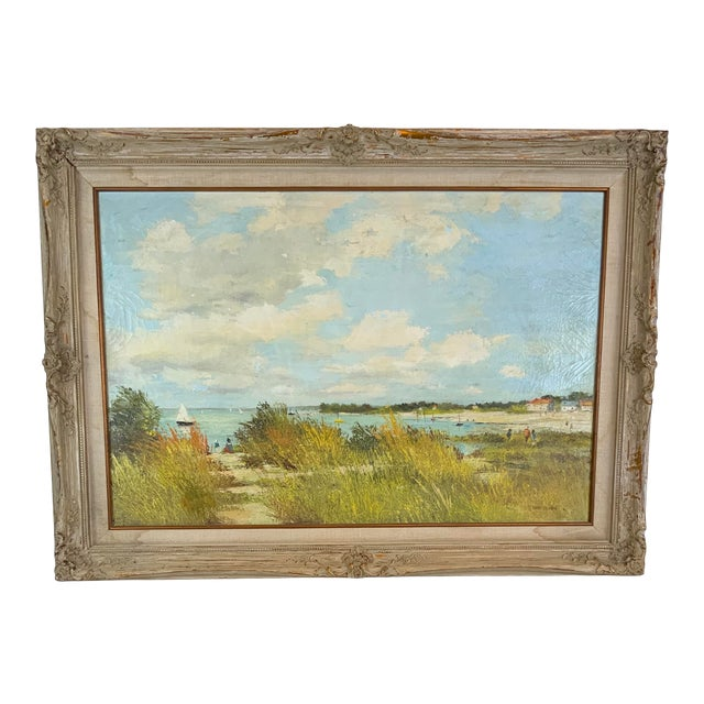 French Seascape Painting by Lois Clark, Framed For Sale