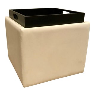 Modern American Leather White Rolling Storage Ottomans With Serving Tray For Sale
