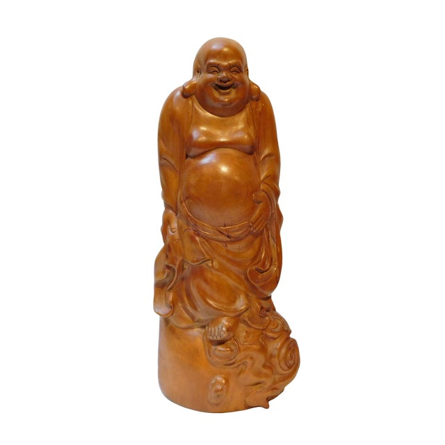 Chinese Hand Carved Standing Happy Buddha Budai Luohan Statue On Cloud Base For Sale