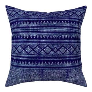 Evil Eye: Indigo Hmong Euro Pillow Cover 24x24 For Sale