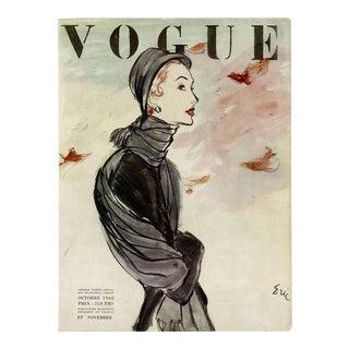 """Vogue Paris, November 1948"" Original Vintage Fashion Magazine Cover For Sale"