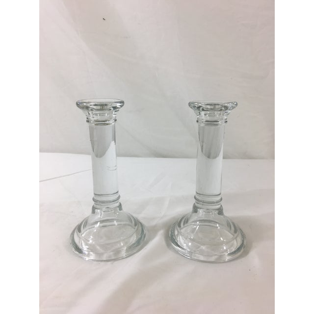 1940s Glass Column Candlesticks - a Pair For Sale - Image 5 of 5