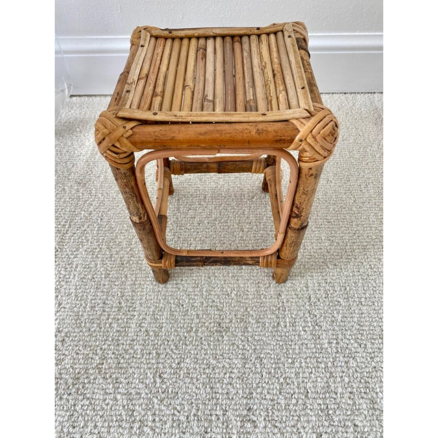 Vintage Rattan and bamboo table riser or plant stand. Wrapped corners.