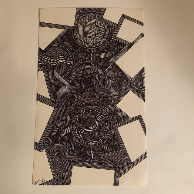 Original Ink Abstract Drawing Outsider Mitch Michener For Sale In Philadelphia - Image 6 of 6