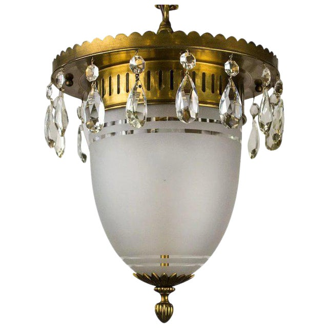1930's Brass Pendant with Frosted Glass Dome and Crystal Accents For Sale