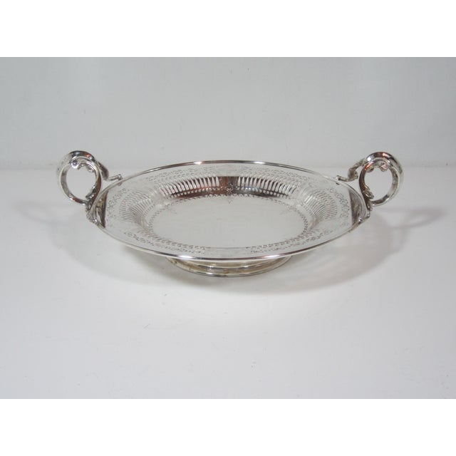 1930s Silver Plate Serving Bowl For Sale - Image 9 of 9