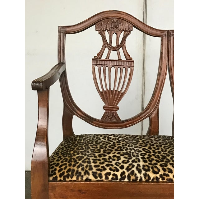 "18th century Italian Neoclassical walnut chair back bench with vasiform splats. Seat height 18""."