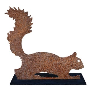 Folk Art Leaping Squirrel Sculpture For Sale