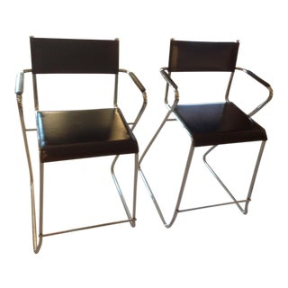 Mid-Century Chrome and Black Leather Counter Z Bar Stools - a Pair