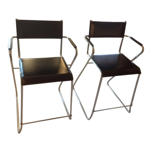 Mid-Century Chrome and Black Leather Counter Z Bar Stools - a Pair For Sale