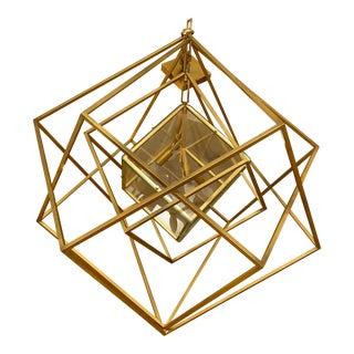 Kelly Wearstler Cubist Medium Gold Chandelier For Sale