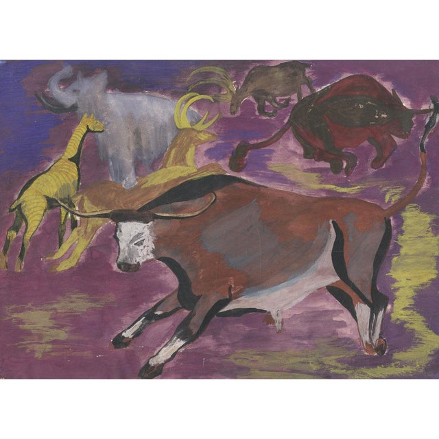 Vintage Abstract Animal Oil Painting - Image 2 of 3