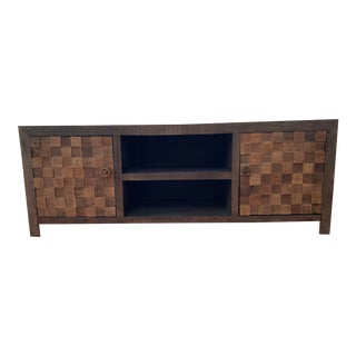 Contemporary Rustic Wood Credenza For Sale