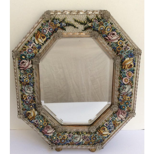 Very fine rare mirror with frame composed of tiny Venetian glass tiles to form a beautiful Floral design.
