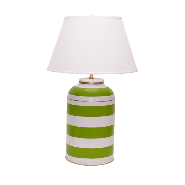 Shabby Chic Green Stripe Tea Caddy Lamp For Sale - Image 3 of 3