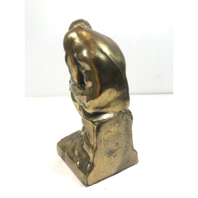 """Contemporary Rodin """"The Thinker"""" Metal Bookend Sculpture For Sale - Image 3 of 8"""