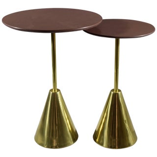 Pair of Stone-R Contemporary Handcrafted Side Tables, Flow Collection For Sale