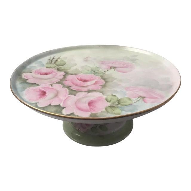 Vintage Floral Cake Plate Pedestal For Sale