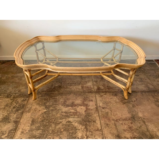 Wood Vintage Boho Chic Bamboo and Wood Coffee Table For Sale - Image 7 of 7