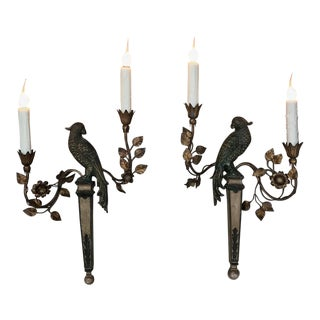 Pair of French Bagues Style Carved and Gilded Wood Parrot Sconces Circa 1920 For Sale
