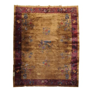 Art Deco Chinese Oversize 12 X 15 Wool Oriental Shabby Chic Rug For Sale