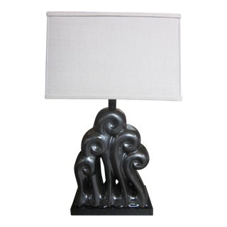 Matte Black Wave Table Lamp by Clate Grunden For Sale