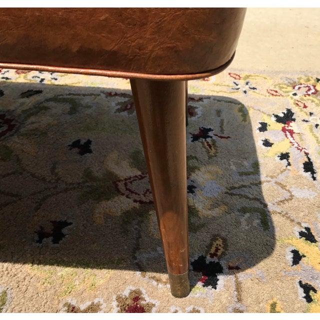 Mid-Century Brown Naugahyde Hassock Footstool - Image 8 of 11
