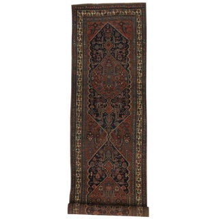 Antique Persian Bijar Carpet Runner, Long Persian Runner with Traditional Style
