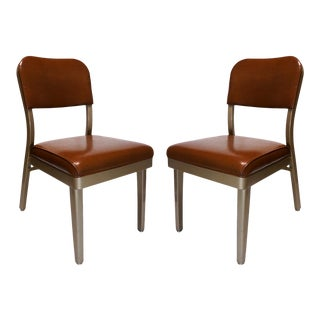 All-Steel Brown Vinyl Upholstered Chairs - a Pair For Sale