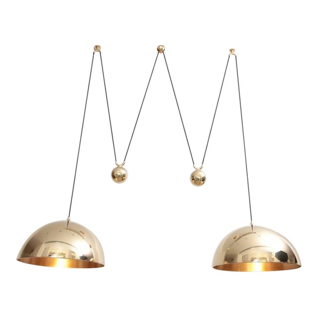 Florian Schulz Double Posa Brass Pendant Lamp With Side Counter Weights For Sale